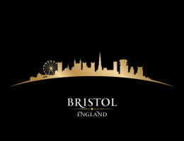 Bristol England city skyline silhouette. Vector illustration
