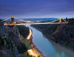 Clifton Suspension Bridge at night , Bristol, UK