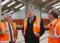 Kris Hopkins MP (centre) visits a brick factory