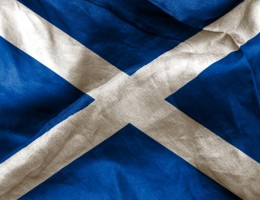 Scottish flag texture creased and crumpled up