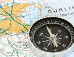 Compass on the map of Republic of Ireland