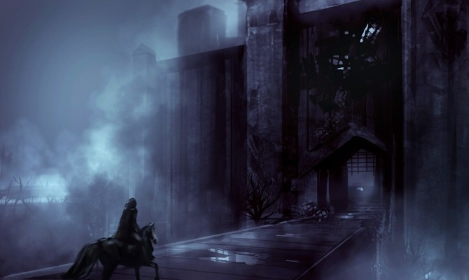 Foggy night castle with a horseman riding
