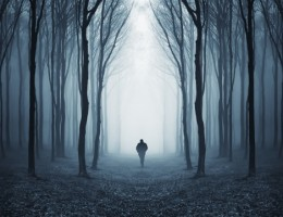 Dark spooky forest with silhouette of a man walking