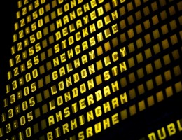 Airport departure timetable detail. European destinations shuddle