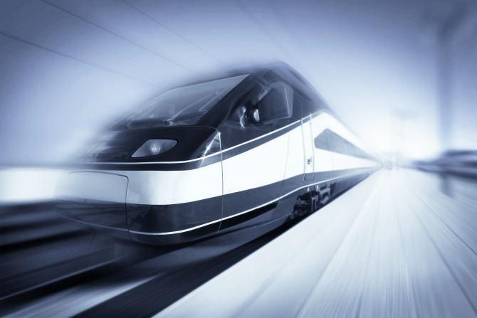 High-speed modern intercity train with motion blur abstract
