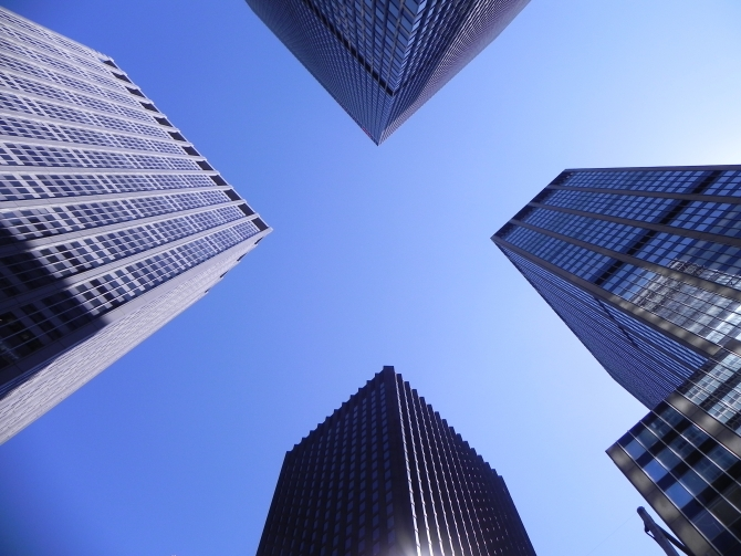 Skyscrapers in Manhattan from a low angle