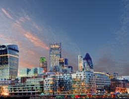 London skyline at a dramatic sunset with clouds