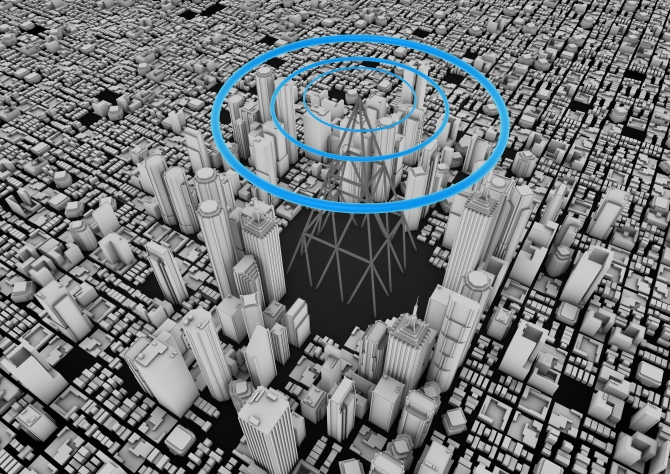 render of a big city with a wireless tower