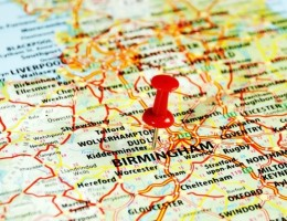 Close up of Birmingham United Kingdom map with red pin - Travel concept