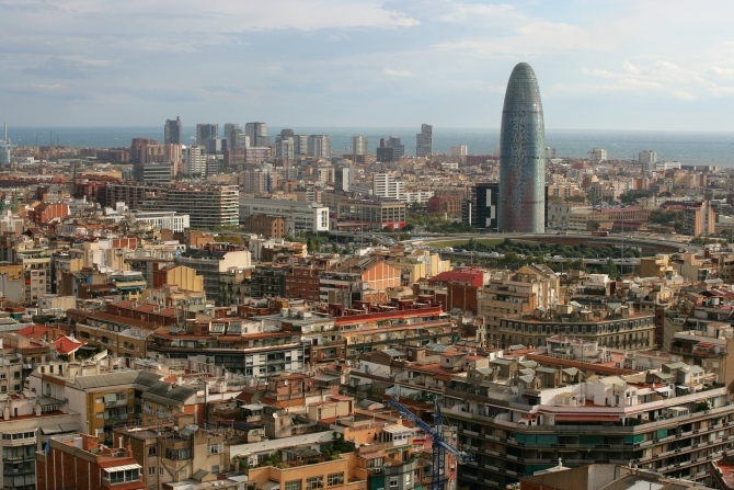 midday in spain, overlooking the beautiful city of barcelona.