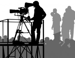 Vector drawing crowds and television cameras. EPS format Illustrator