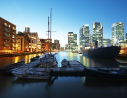 Canary Wharf view from West India Millwall Docks.