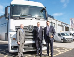 Midlands Truck & Van's new Bentley Bridge base, (left to right) Nigel Birkmyre, of Ballyvesey; James Richards, of Clowes, and DTZ's Jonathan Robinson.
