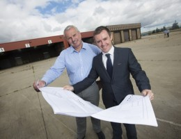 From left to right: Neil Tweddle, Managing Director of Godfrey Syrett with Mark Coulter of Silverstone surveying the new site at Belmont Industrial Estate.