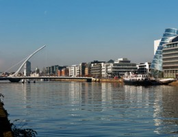 The Samuel Beckett Bridge, Dublin Convention Center and the north banks of the river Liffey in Dublin City Centre