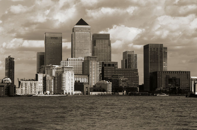 view of canary wharf london uk from across the river thames