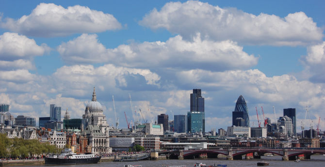 London skyline including the capital's financial district and St Paul's cathedral