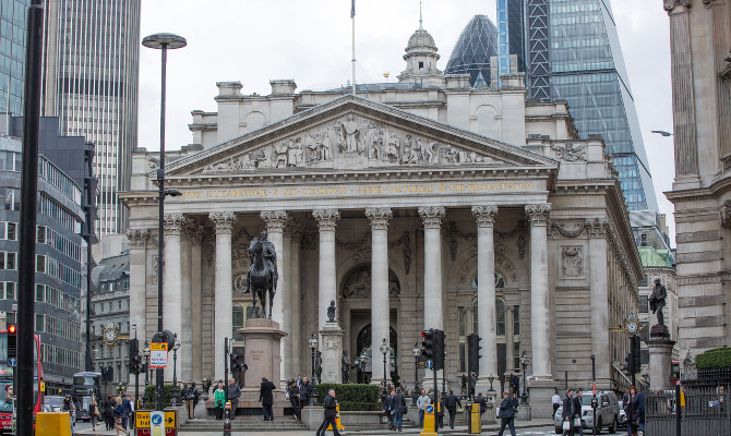 Royal exchange building. Bank of England square - Grade I Listed Building