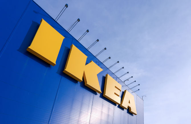 SAMARA RUSSIA - MARCH 9 2014: Sign IKEA at IKEA Samara Store. IKEA is the world's largest furniture retailer and sells ready to assemble furniture